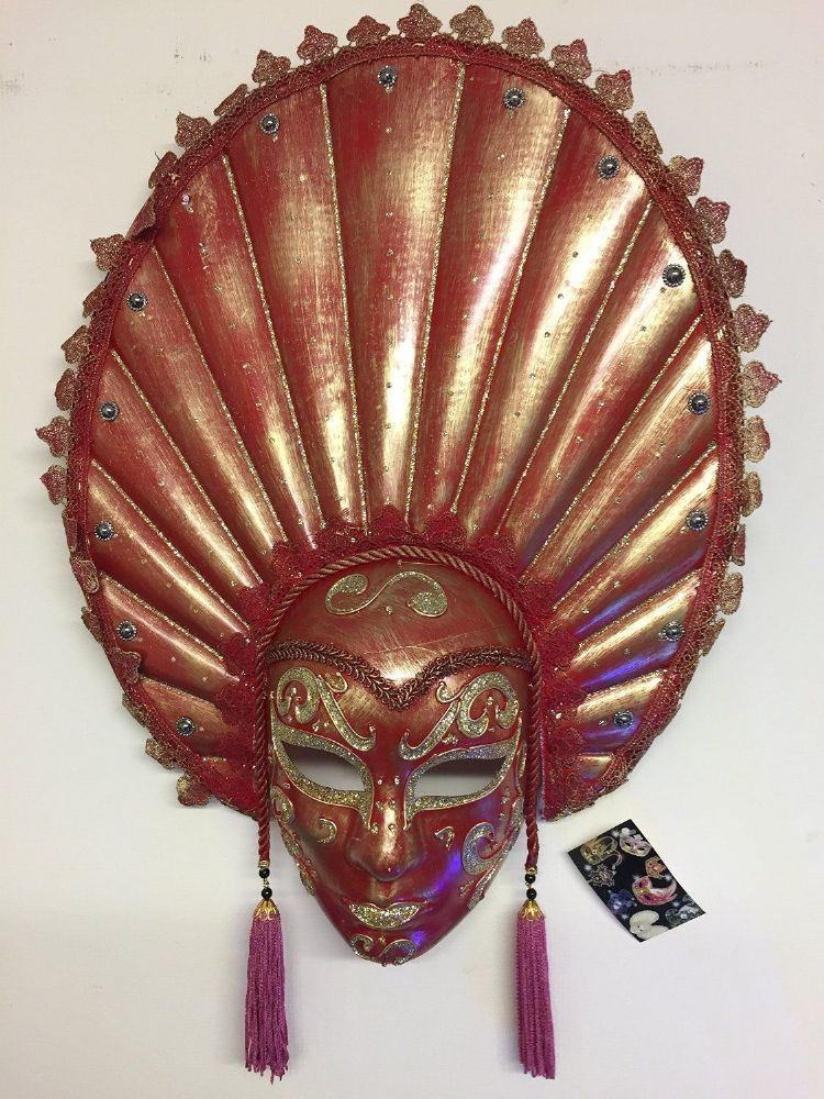 Red & Gold Mardis Gras Carnival Mask Wall Hanging